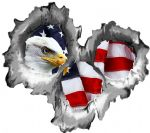 Bullet Hole Torn Metal 3 Shots With USA American Bald Eagle Car Sticker 95x85mm